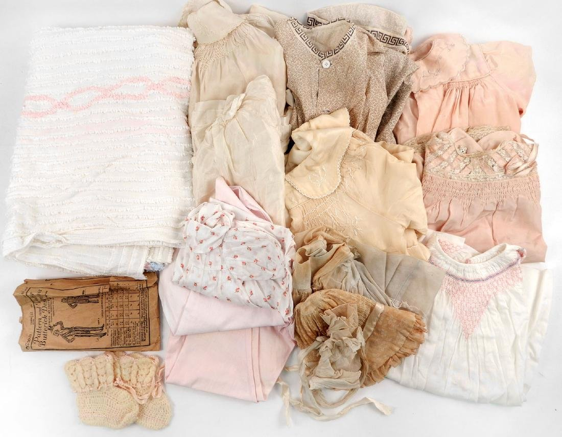 Lot of antique and vintage doll clothes for larger