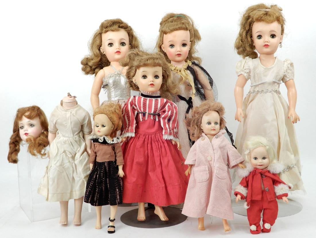 Grouping of vinyl and hard plastic dolls
