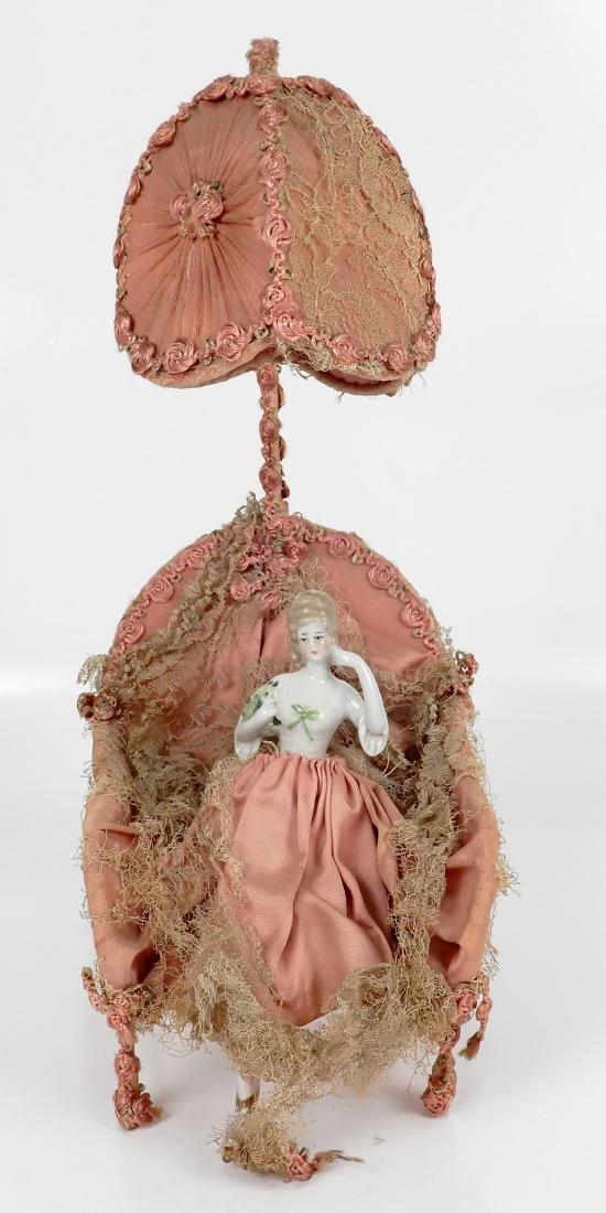 Porcelain half doll figural lamp