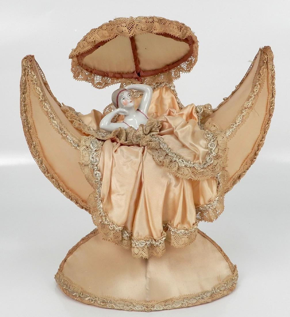 Porcelain half doll figural dresser accessory