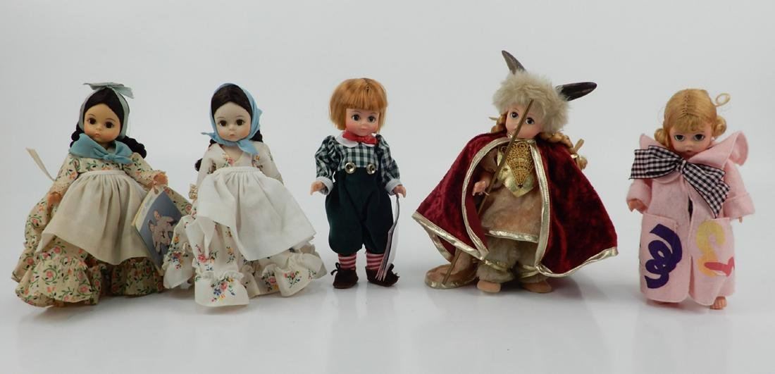 "Five Madame Alexander 8"" dolls"