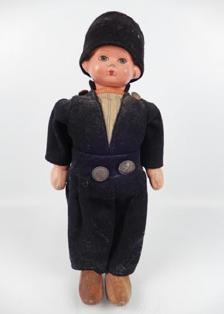 Composition and wood Dutch boy walker doll