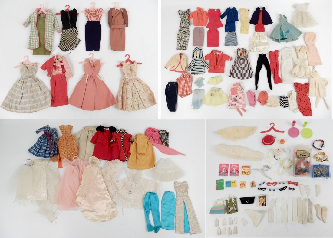 Large grouping of tagged Barbie doll outfits