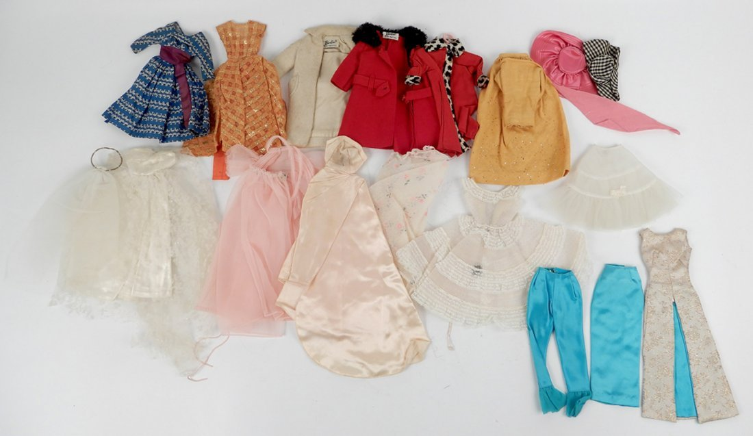 Large grouping of tagged Barbie doll outfits - 2