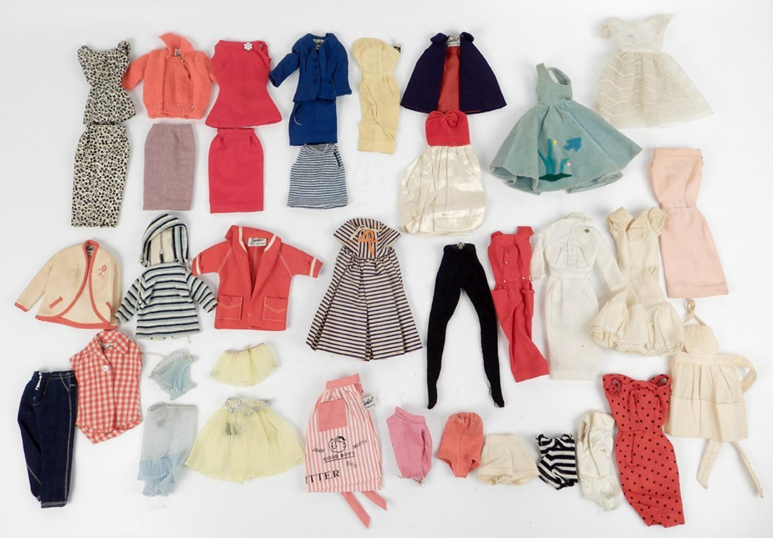 Large grouping of tagged Barbie doll outfits - 8