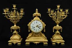 Louis XV style dore bronze clock set
