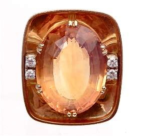 18k gold diamond ring with 18 carat citrine