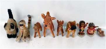 Nine vintage Steiff animals
