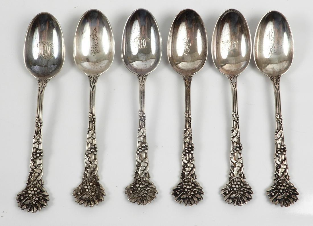 Set of six Tiffany & Co. sterling silver teaspoons
