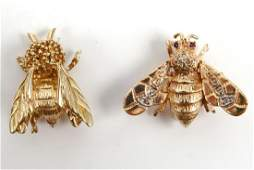 Two 14k gold insect pins