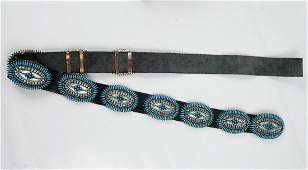 Native American sterling silver turquoise leather belt