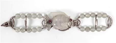 Sterling silver rock crystal fish bracelet
