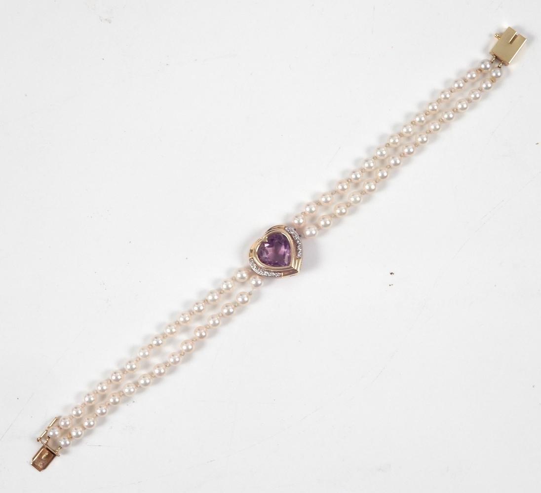 14k gold pearl amethyst bracelet