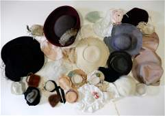 Box of mostly antique and vintage doll hats and bonnets