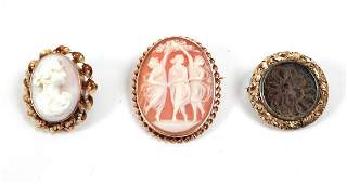 Three gold Victorian pins