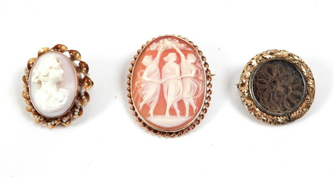 Three gold Victorian pins