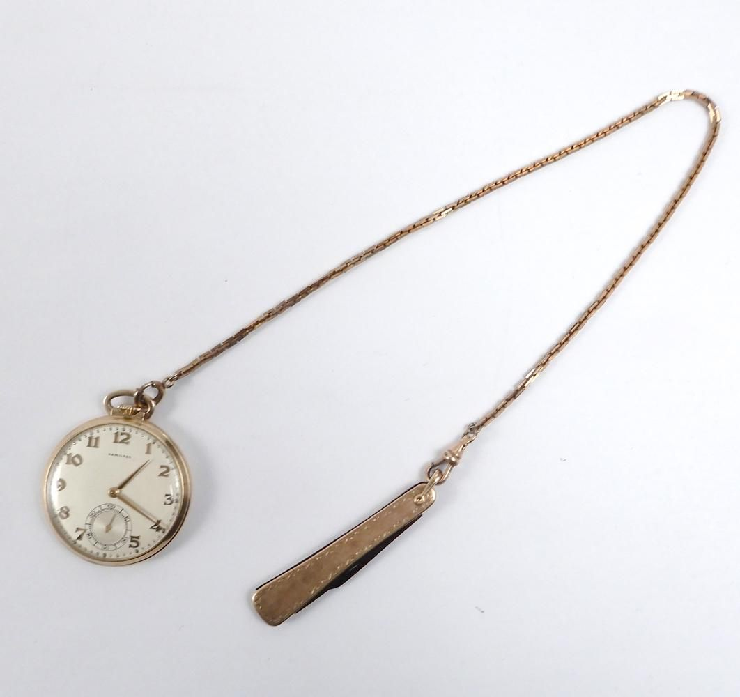 Hamilton 14k gold case pocket watch with chain and pen