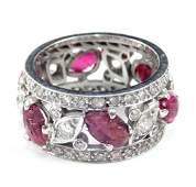 Art Deco platinum diamond and ruby ring