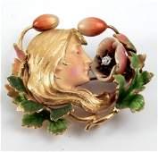 Art Nouveau 14k gold enameled diamond brooch