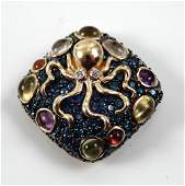 14k gold diamond and gem stone octopus pendant