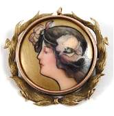 Art Nouveau 14k gold hand painted porcelain brooch