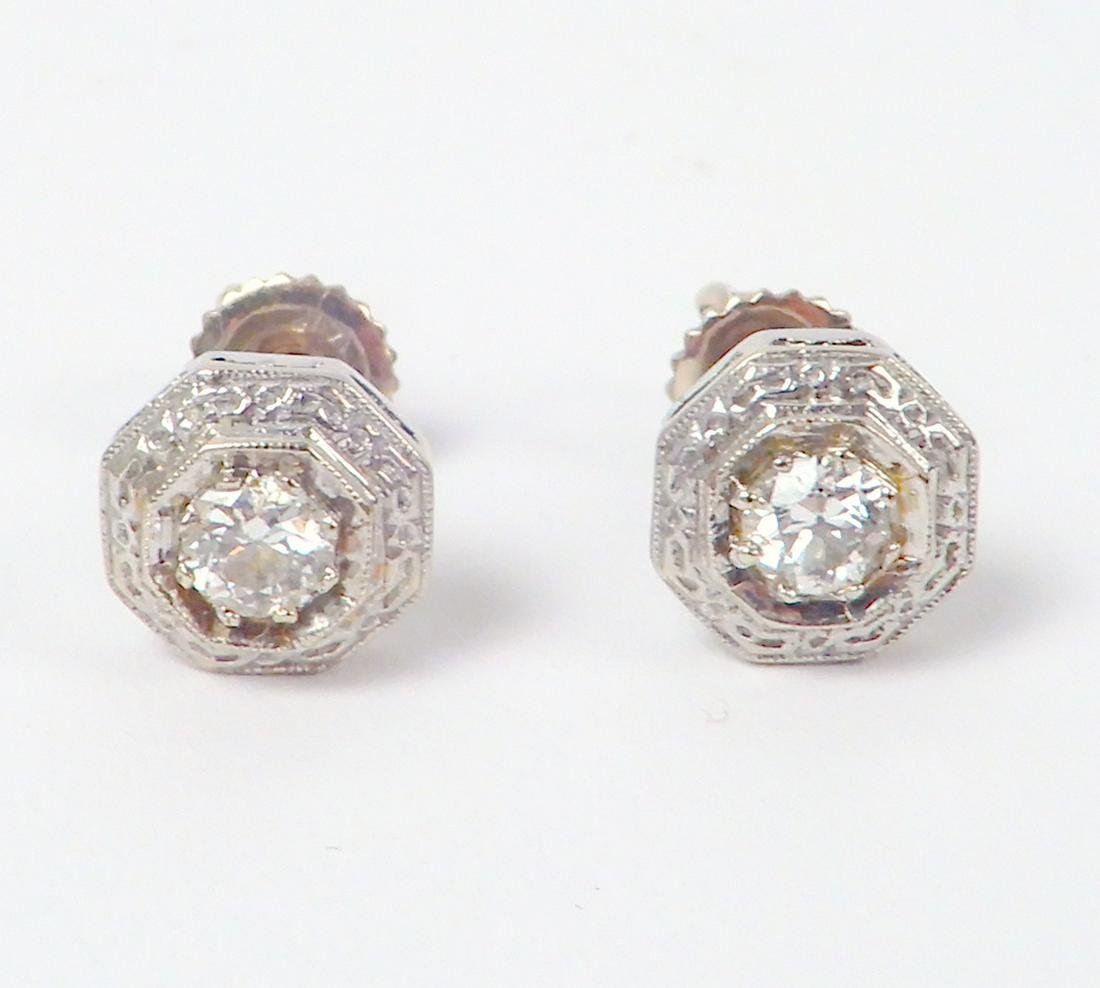 Vintage 14k gold diamond post earrings
