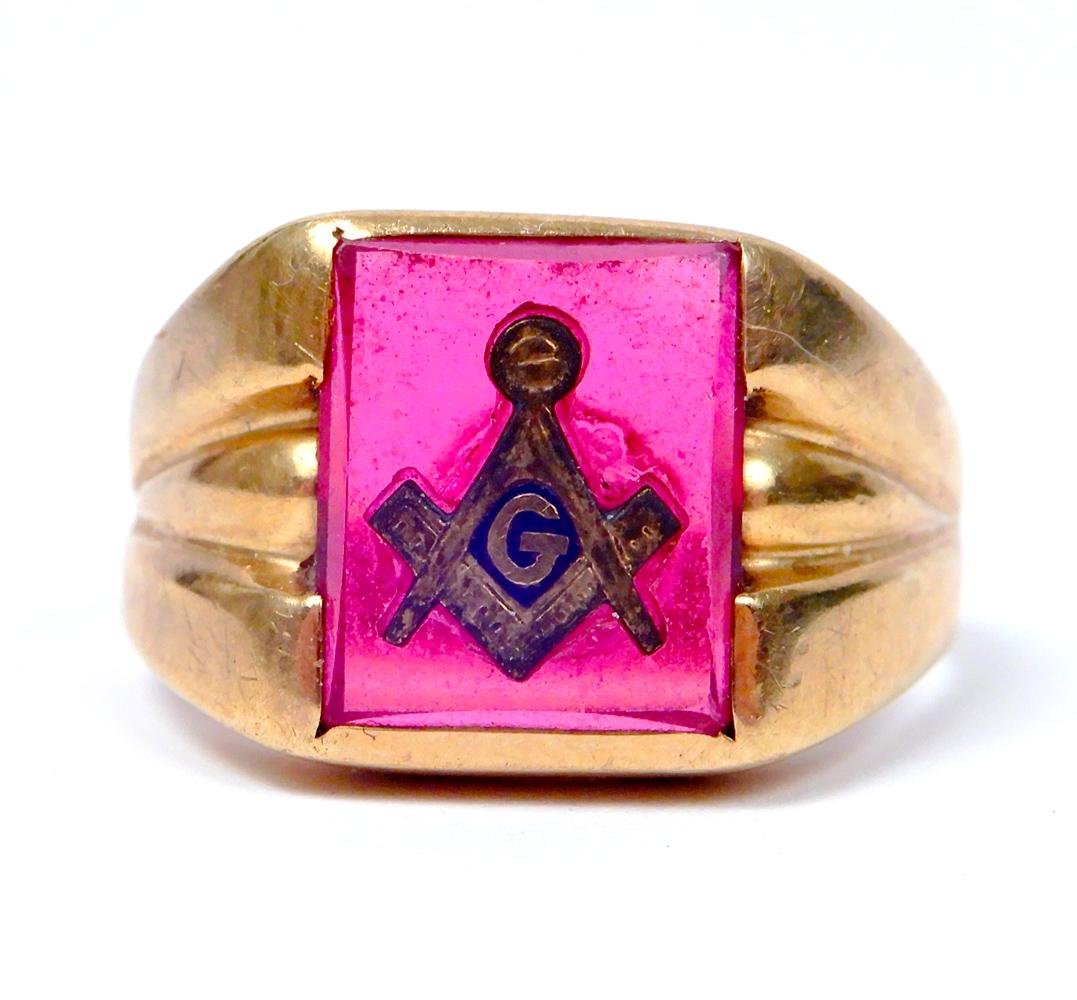 Masonic 10k gold ring with red stone
