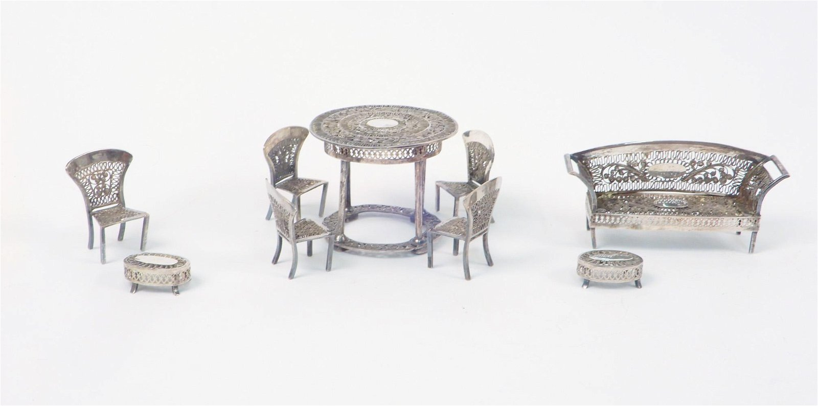 Ornate silver plate doll house furniture