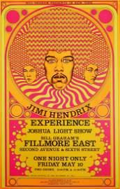 Jimi Hendrix 1968 Fillmore East concert poster