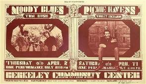 Moody Blues Berkeley Community Theater concert poster