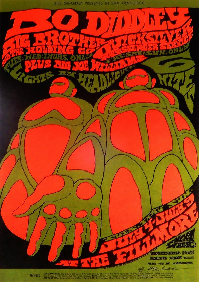 Bo Didley Fillmore Auditorium concert poster