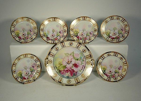 1: Nippon hand painted dessert set, seven piece, floral