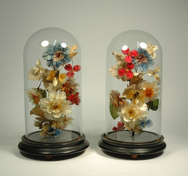 4: Pair of Victorian yarn work floral arrangments under