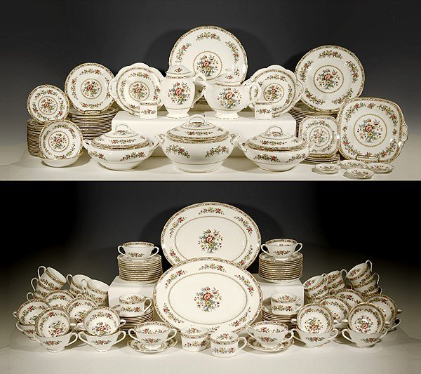 "5: Set of Coalport bone china dinnerware ""Ming Rose"" se"