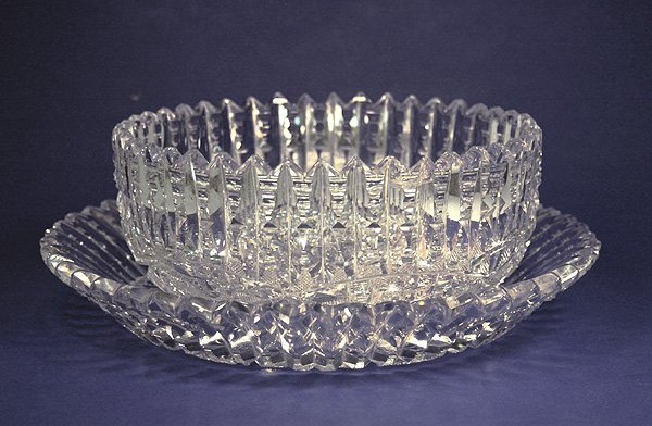 7: Libbey cut glass punchbowl with undertray, acid stam