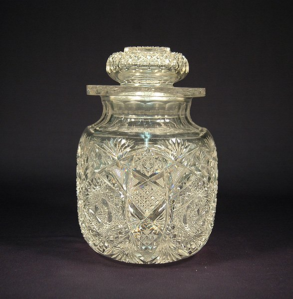 "8: American cut glass tobacco jar ""Hobstar Cluster"", ea"
