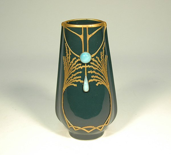 10: Art Nouveau porcelain vase with applied gilt metal