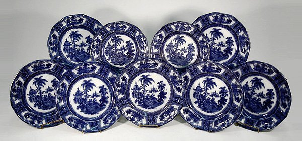 "14: Nine flow blue plates ""Kyber"" by W. Adams & Co incl"