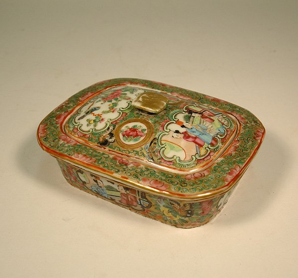 16: Chinese Export Rose Medallion soap dish with fitted