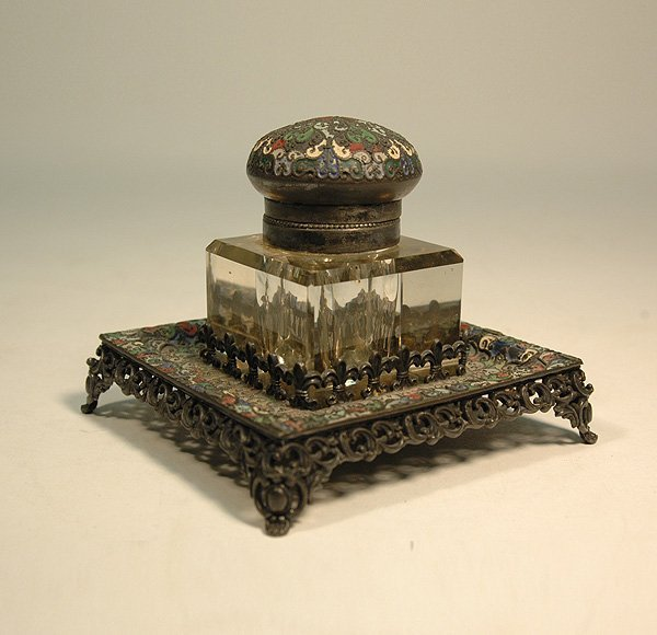 17: Enameled silver plated inkstand, enameled hinged li