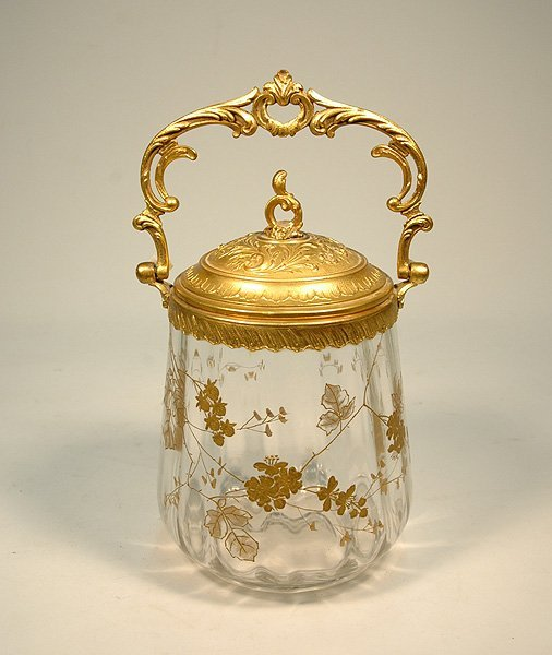 19: French dore bronze and gilt enameled crystal biscui