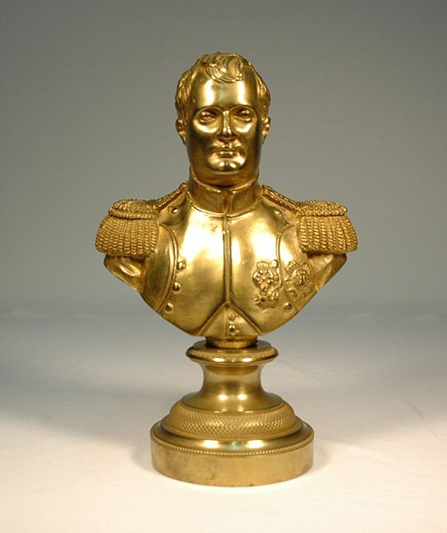 24: Bronze dore bust of Napoleon on round pedestal base