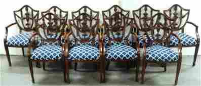 Set of ten Maitland Smith dining room armchairs