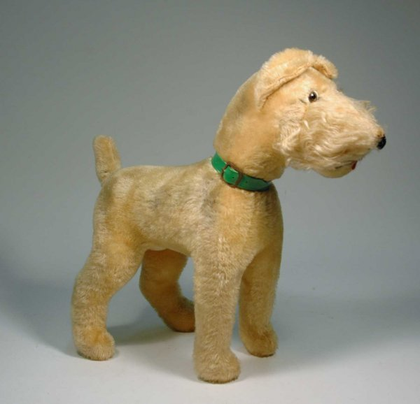 5: Mohair straw filled dog with green plastic collar, g
