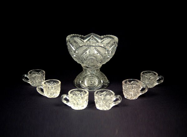 8: Child's gilt rimmed pattern glass punch bowl with si