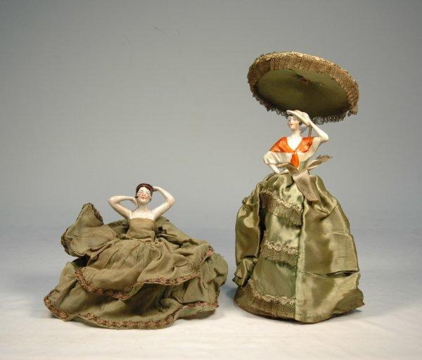 10: Two German half dolls, 1) flapper pin cushion doll