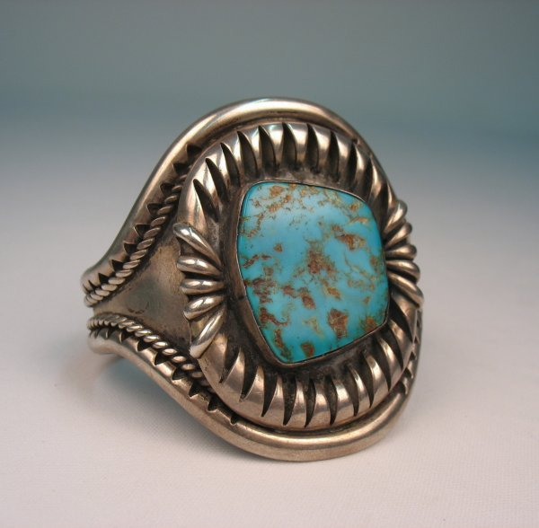 204: Large handmade Native American sterling silver and
