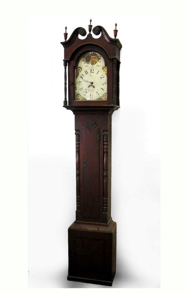 352: Pennsylvania cherry tall case clock by Bush & Shol