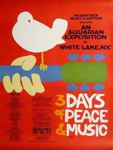 Original Woodstock Music Festival concert poster
