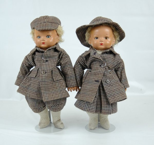 """6: Pair of Effanbee compo dolls, brother and sister 16"""""""